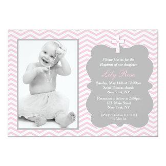 Pink Grey Chevron Baptism Invitations for girl