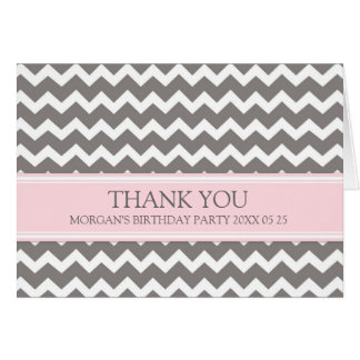 Pink Grey Chevron Birthday Party Thank You Card