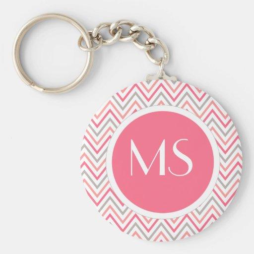 Pink Grey Chevron Zigzag Monogram Keychain