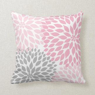 Pink Grey Dahlia floral pillow