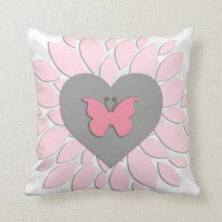Pink Grey Dahlia Heart Nursery Throw Pillow