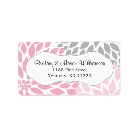 Pink Grey Dahlia Wedding Bridal Baby Shower custom Label