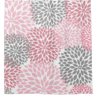 Pink Grey Dahlias  flowers floral blossoms Shower Curtain And Curtains Zazzle co uk