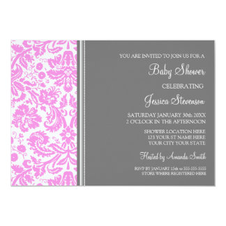 Pink Grey Damask Custom Baby Shower Invitations