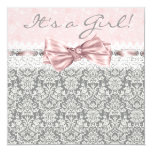 Pink Grey Damask Pink and Grey Baby Girl Shower 13 Cm X 13 Cm Square Invitation Card