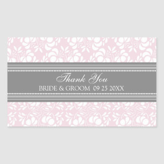 Pink Grey Damask Thank You Wedding Favor Tags