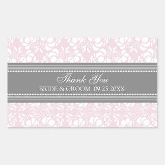 Pink Grey Damask Thank You Wedding Favor Tags Rectangular Sticker
