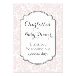 Pink Grey Damask Vintage Baby Shower Favour Tags Pack Of Chubby Business Cards