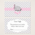 Pink Grey Elephant Baby Shower Diaper Raffle Business Card