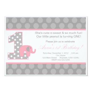 Pink Grey Elephant Birthday Invitation