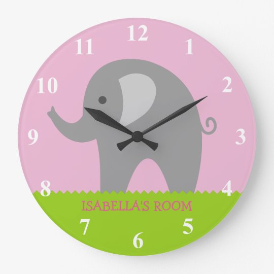 Pink grey elephant nursery wall clock for girls