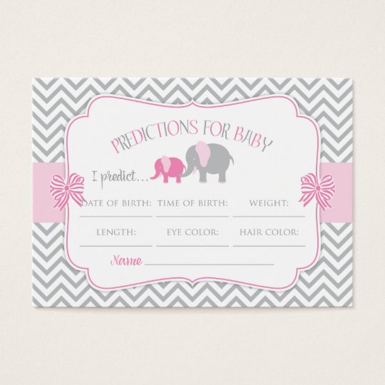 Pink & Grey Elephant Predictions Baby Shower Card