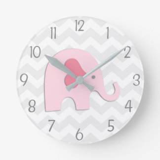 Pink Grey Elephant Wall Clock