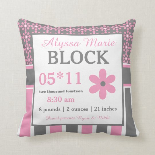Pink Grey Floral Baby Announcement Pillow