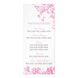 Pink grey floral wedding dinner menu template set