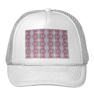 Pink Grey Flower Tulip Mirror Pattern Cross Square Cap