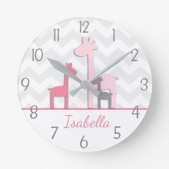 Pink Grey Giraffe Wall Clock
