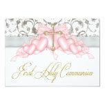 Pink Grey Gold Cross Girls Pink First Communion