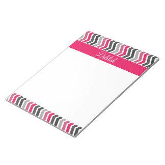 Pink Grey Gray Chevron Name Notepad