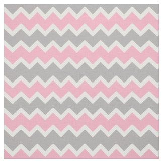 Pink Grey Gray Chevron Zigzag Pattern Fabric