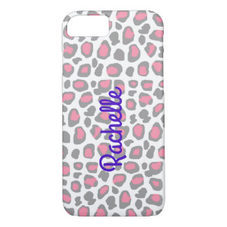 Pink Grey Gray Leopard Animal Print iPhone 8/7 Case