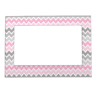 Pink Grey Gray Ombre Chevron Magnetic Picture Frame