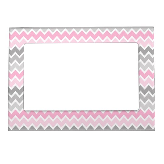 Pink Grey Grey Ombre Chevron Frame Magnets