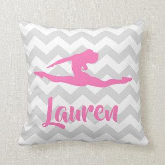 Pink Grey Gymnastics Throw Pillow