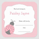 Pink Grey Ladybug bookplate / book baby shower Square Sticker