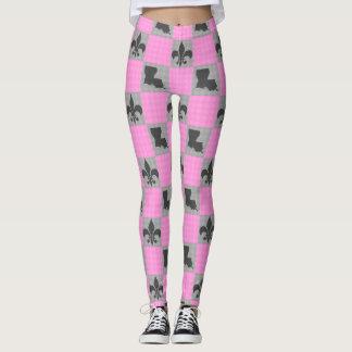Pink & Grey Louisiana Fleur De Lis Pattern Tights