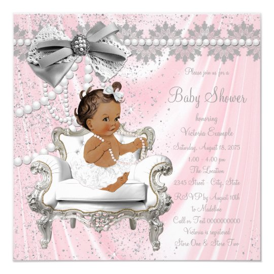 Pink Grey Pearl Chair Ethnic Girl Baby Shower