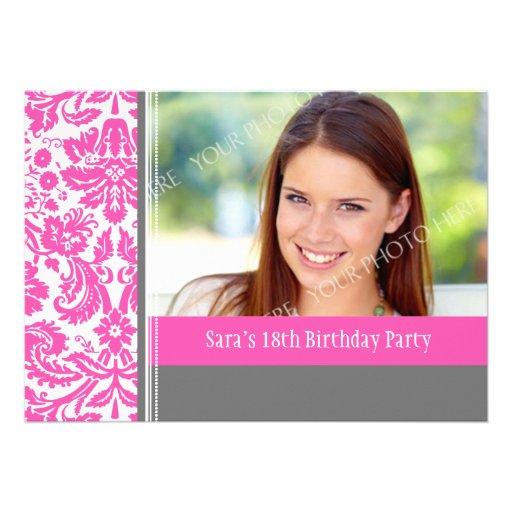 Pink Grey Photo 18th Birthday Party Invitation