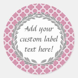 Pink Grey Pretty Custom Canning Jar Craft Label