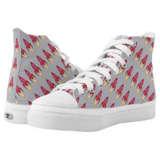 Pink & Grey Retro Rocketship Cute Cartoon Design Printed Shoes