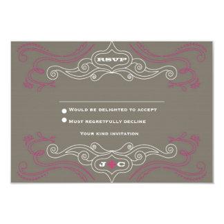Pink & Grey Rock 'n' Roll Music Themed Wedding 9 Cm X 13 Cm Invitation Card