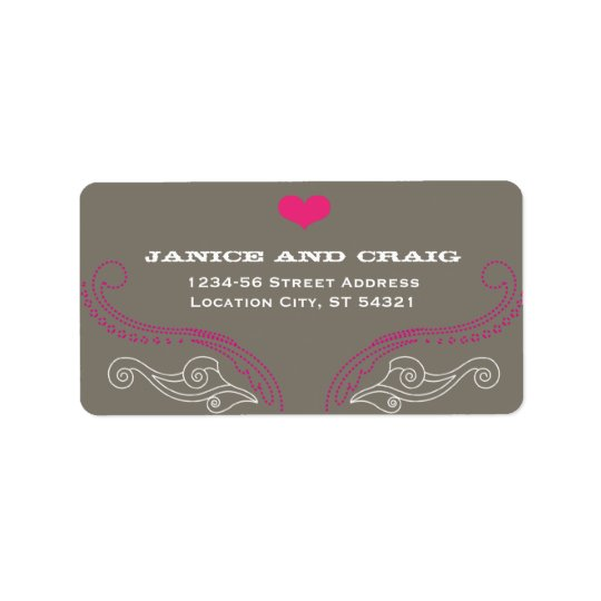 Pink & Grey Rock 'n' Roll Music Themed Wedding Address Label