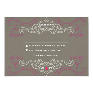 Pink & Grey Rock 'n' Roll Music Themed Wedding Card