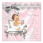 Pink Grey Satin Pearl Chair Baby Shower Card