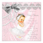 Pink Grey Satin Pearl Little Lady Baby Shower Card