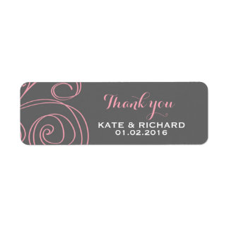 Pink Grey Swirl Thank You Sticker for Wedding