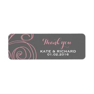 Pink Grey Swirl Thank You Sticker for Wedding Return Address Label