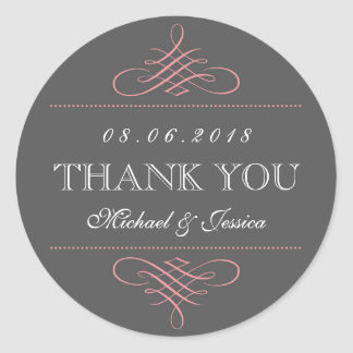 Pink Grey Swirls Ornament Wedding Stickers