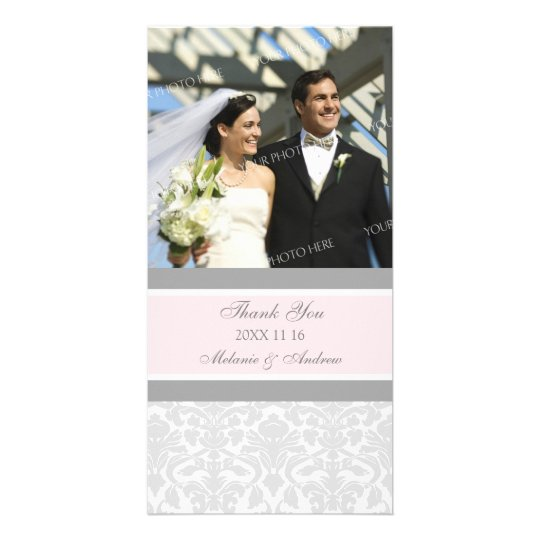 Pink Grey Thank You Wedding Photo Cards