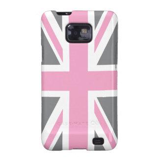 Pink Grey Union Jack British(UK) Flag Galaxy S2 Cover