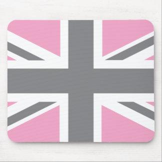 Pink Grey Union Jack British(UK) Flag Mouse Mat