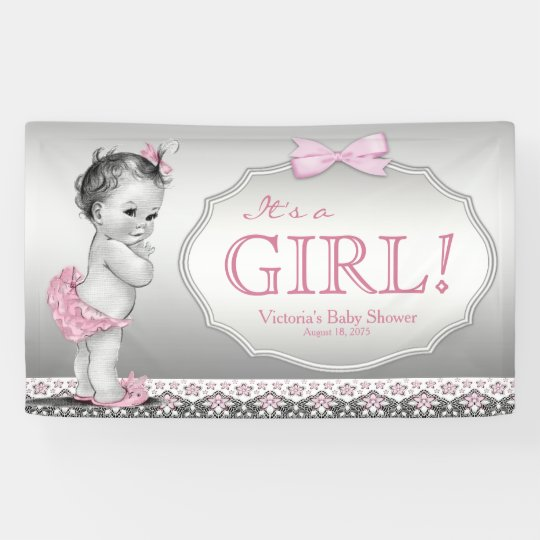 Pink Grey Vintage Baby Girl Baby Shower Banner