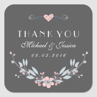 Pink Grey Vintage Flower Wedding Sticker with Love