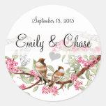 Pink & Grey Vintage Love Birds Wedding Stickers