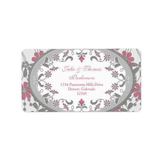 Pink Grey Vintage Victorian Wedding Return Address Label