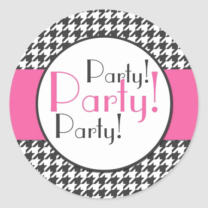 Pink, Grey, White Houndstooth Party Sticker